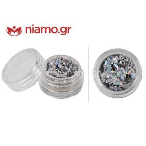 Nail Art Διακοσμητικά Νυχιών Glitter Νιφάδες Ασημί